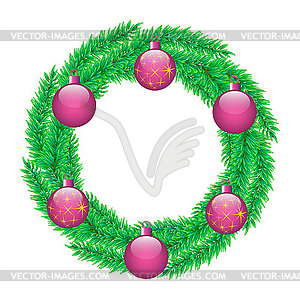 Christmas wreath. Retro abstract banner with.