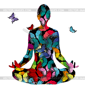 Abstract woman silhouette in yoga pose with.