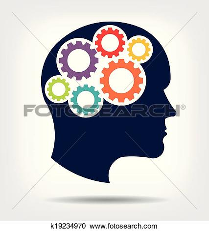 Clipart of Head gears. Abstraction of thinking k19234970.