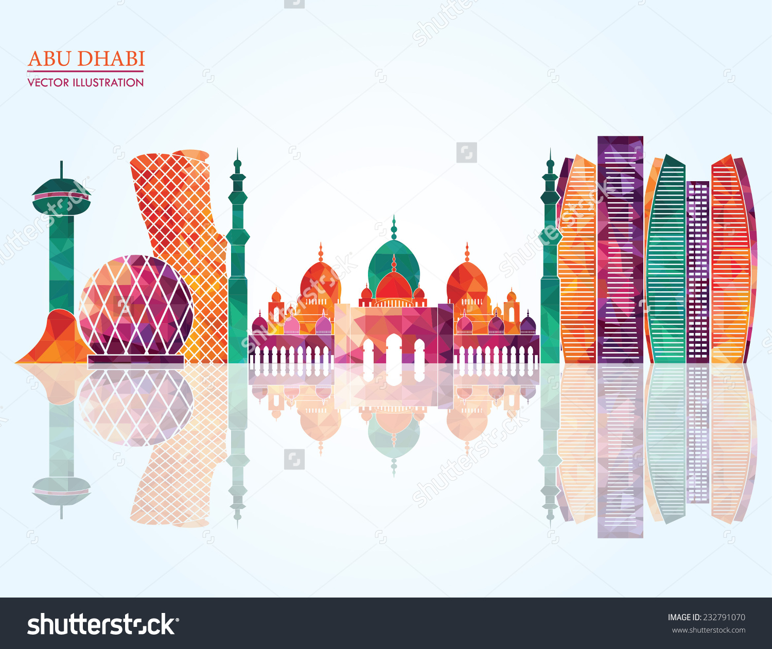 Abu Dhabi Skyline Vector Illustration Stock Vector 232791070.
