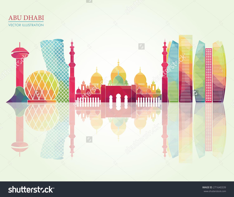 Abu Dhabi Skyline Vector Illustration Stock Vector 271640339.