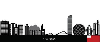 Abu Dhabi City Skyline Black White Silhouette Stock Photos, Images.