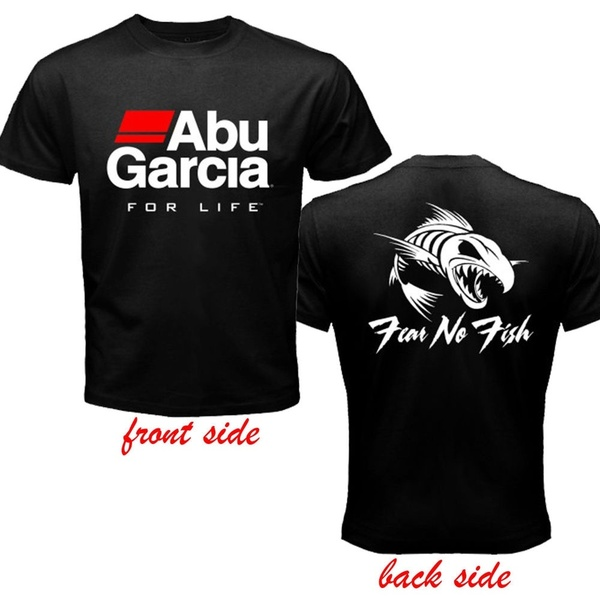 Mens Abu Garcia Fishing Reel Logo 2 Sides Black T Shirt Size S.