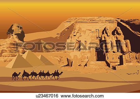 Stock Illustration of Egypt, Abu Simbel, Sphinx, UNESCO, World.