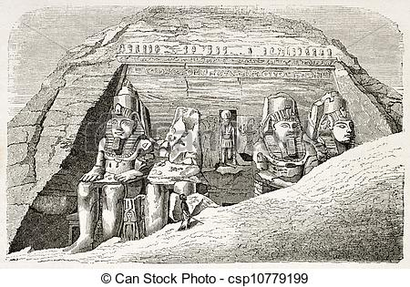 Stock Illustration of Abu Simbel Temple of Ramesses II old.