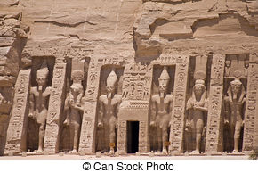 Stock Photography of The temple of Abu Simbel in the Nubian Desert.