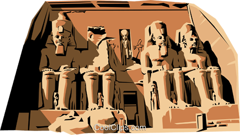 Temple of Abu Simbel Royalty Free Vector Clip Art illustration.