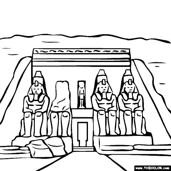 Abu Simbel Temple Egypt Coloring Page.