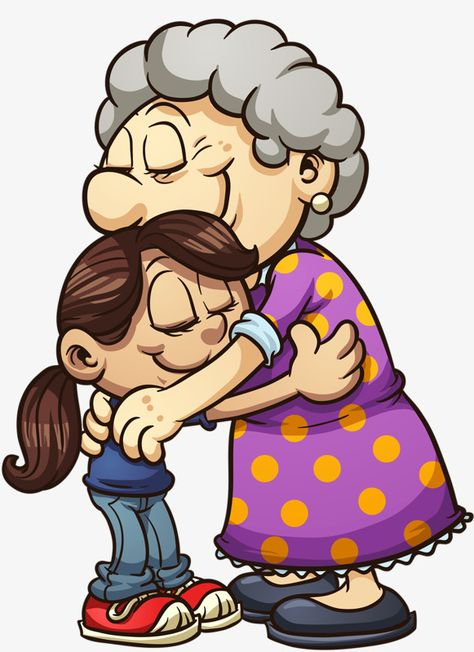Grandmother And Granddaughter Hugging, Grandmother Clipart.