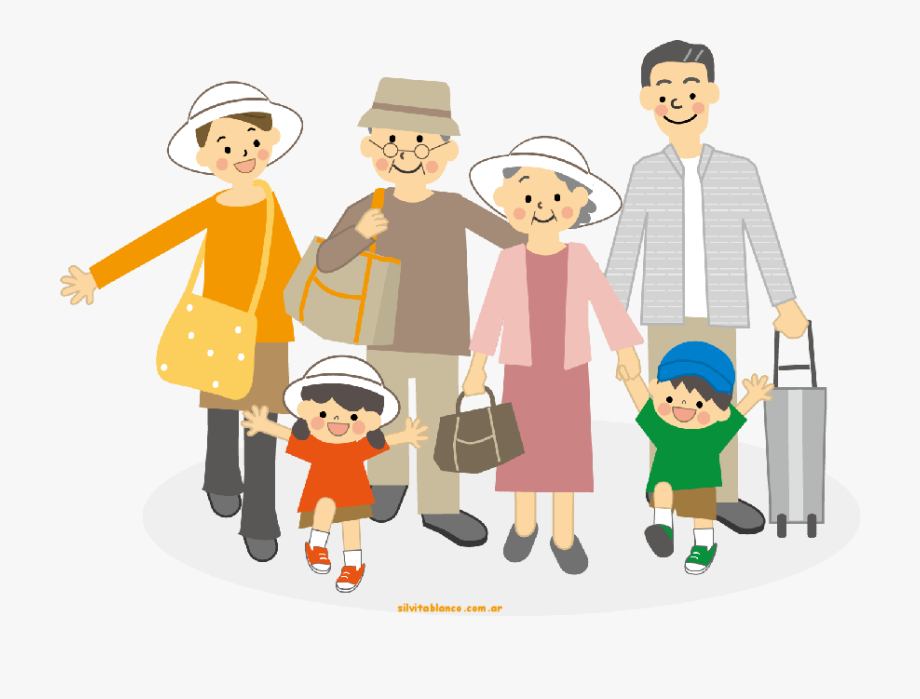 Family Con Abuelos Clipart , Transparent Cartoon, Free.