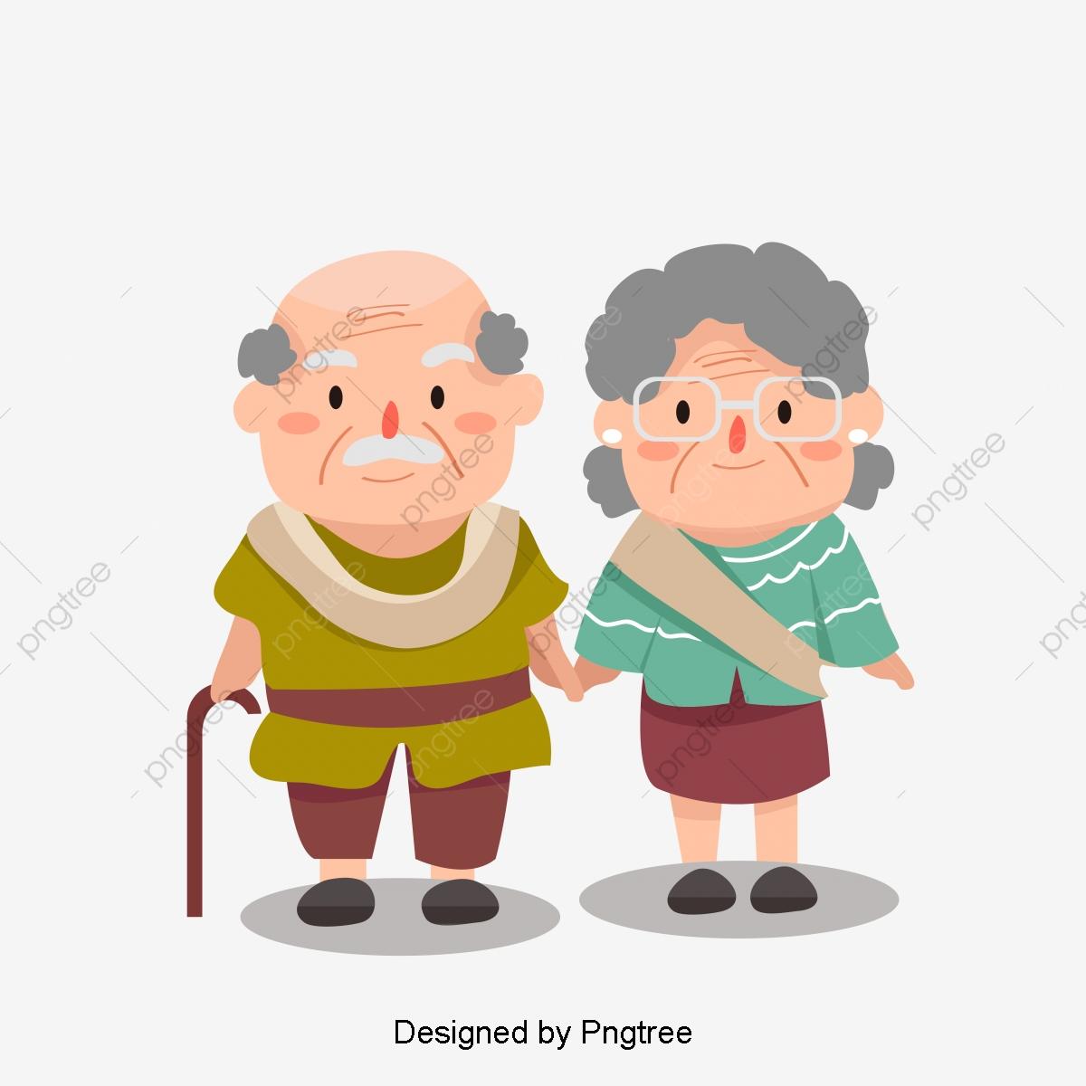 Los Viejos Abuelos Tomados De La Mano Caminando Verde, Un Hombre.
