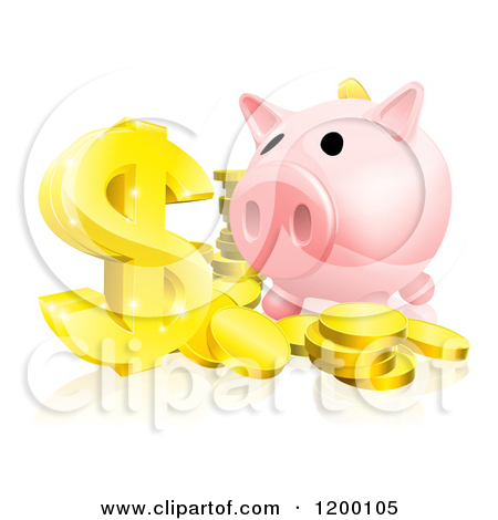 Cartoon of a Pink Piggy Bank and Abundance of Gold Coins and.