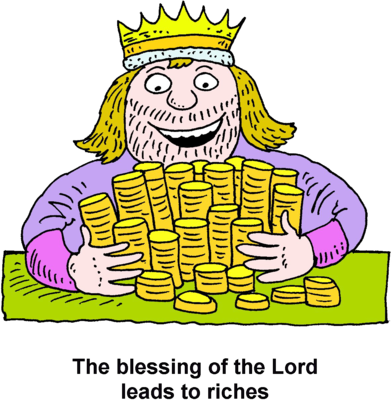 Image: A King Embracing a Pile of Gold Coins.