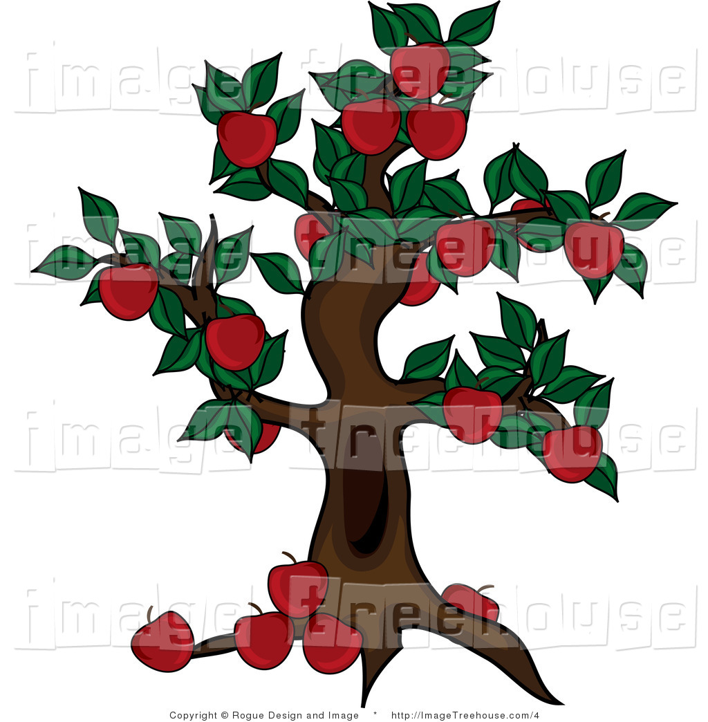 Vector Clipart of an Abundant Apple Tree.
