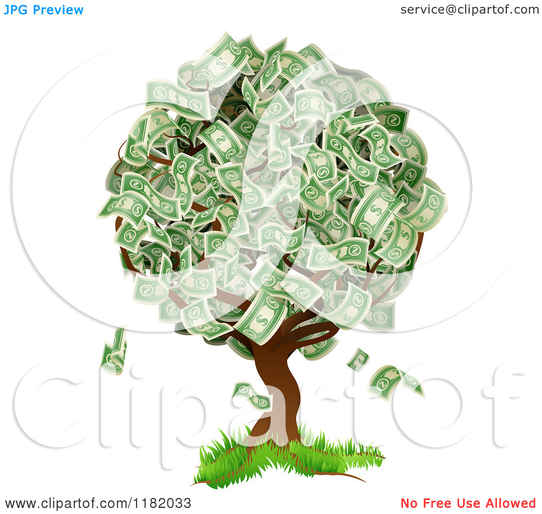 Cartoon of a Money Tree Abundant with Cash Foliage.
