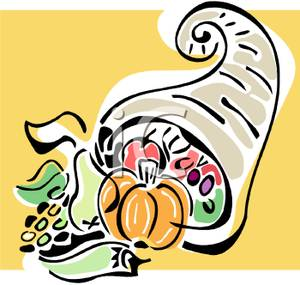 Cornucopia with an Abundance of Food Clipart Picture.