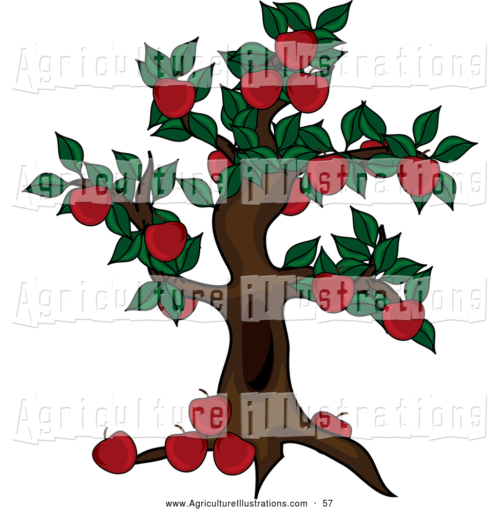 Agriculture Clipart of a Beautiful Apple Tree Abundant with.