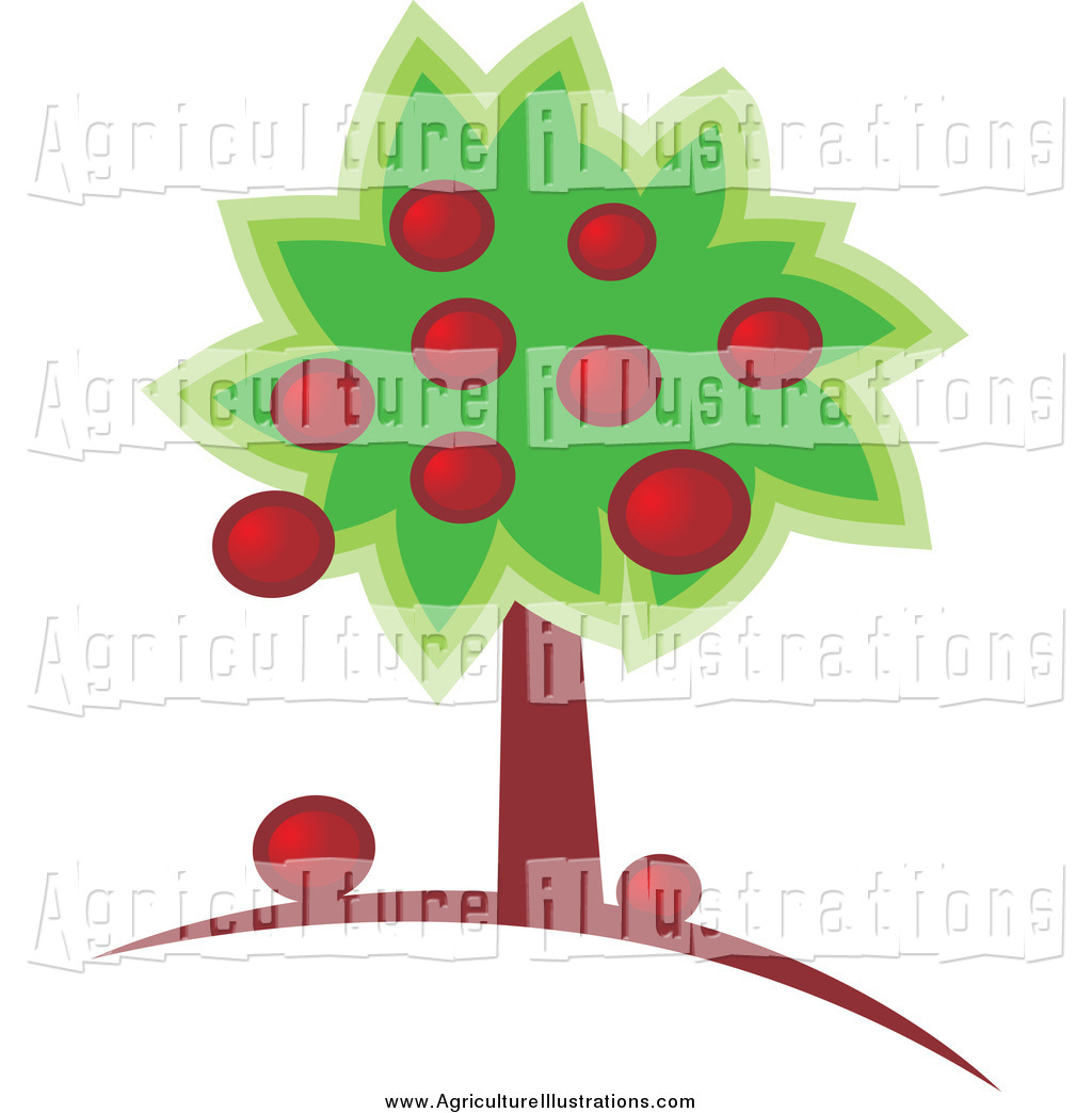 Agriculture Clipart of a Abundant Apple Tree with Fruit on.