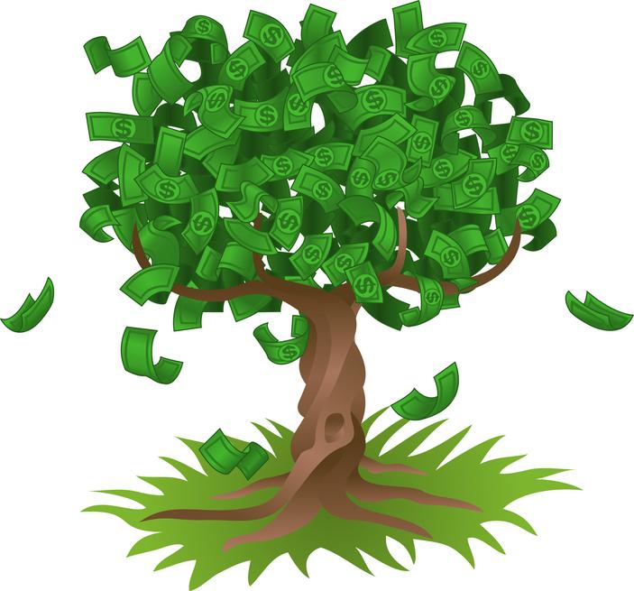 Tree Growing An Abundant Amount Of Dollar Bills, Symbolising.