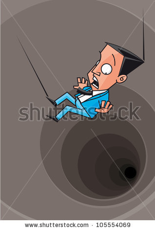 Vector Illustration Businessman Falling In The Abyss.