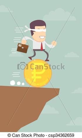 Clipart Vector of Businessman runs blindly into the abyss.