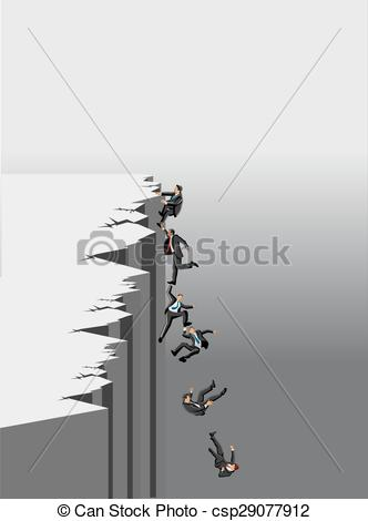 Vector Clip Art of people trying to get out of abyss..