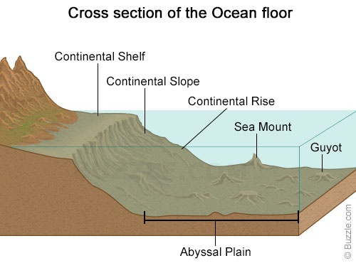 Contental slope, trench, sea mount, abyssal plain, photos.