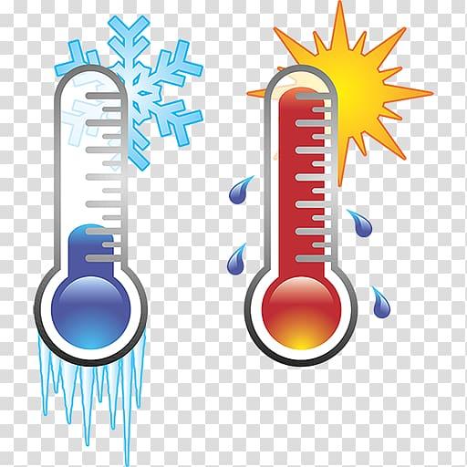 Celsius and Fahrenheit illustrations, HVAC Air conditioning.