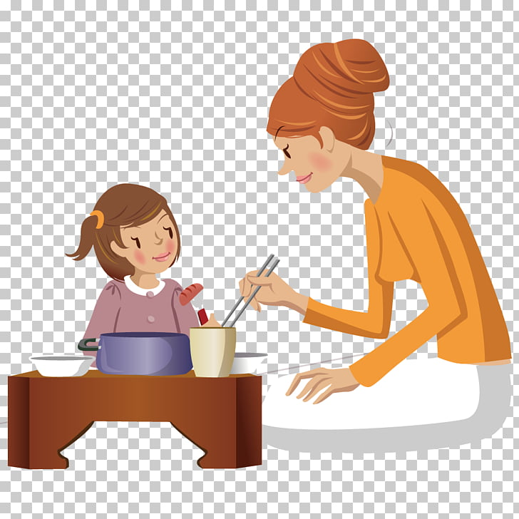 Child Mother Eating, Accompany the child to eat PNG clipart.