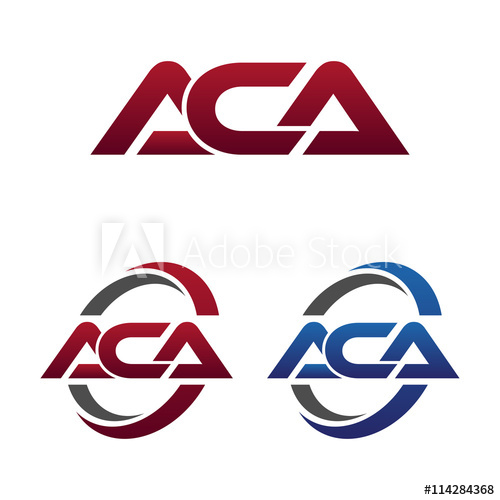 Modern 3 Letters Initial logo Vector Swoosh Red Blue aca.