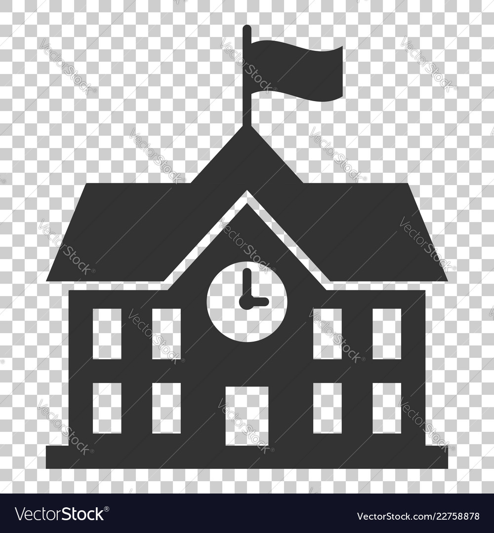 School building icon in flat style college.