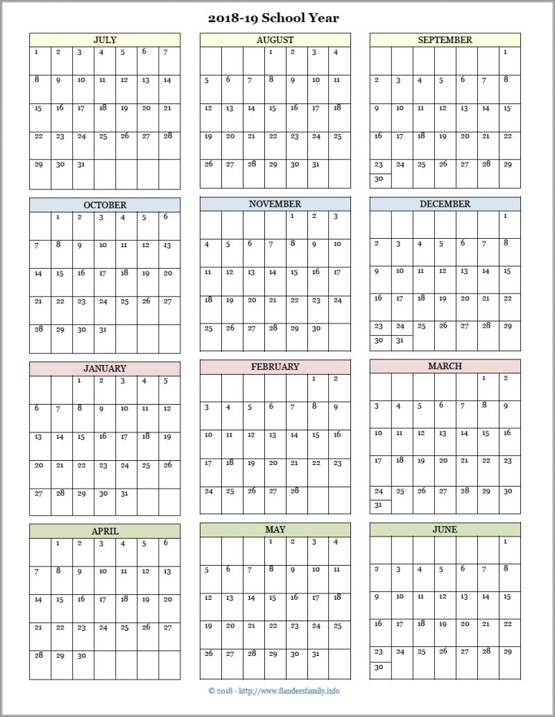 school year calendar planner.