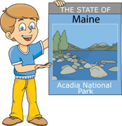 Fifty US States: Maine Clipart.