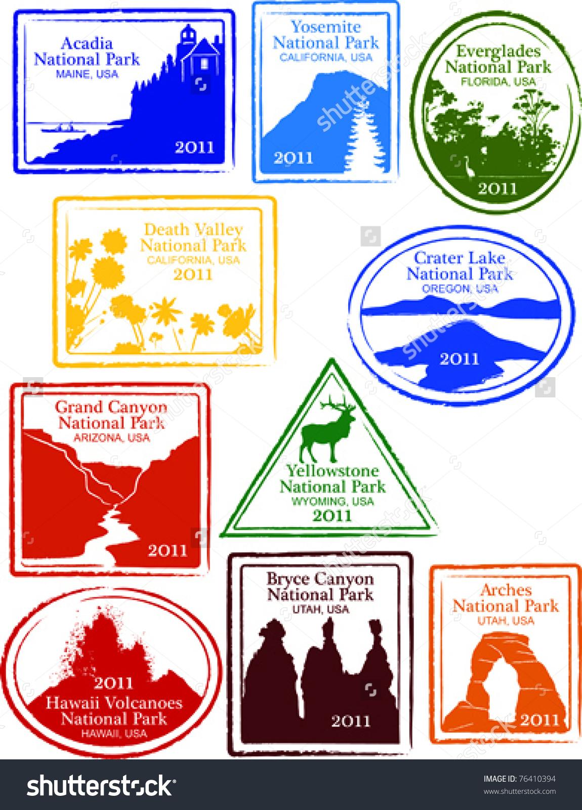 Retro Set Fun Usa National Park Stock Vector 76410394.