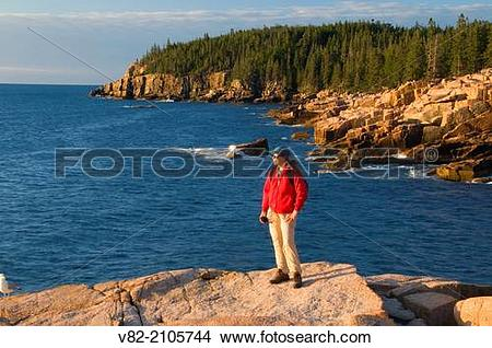 Stock Photo of Rocky shoreline viewing to Otter Cliff from Ocean.