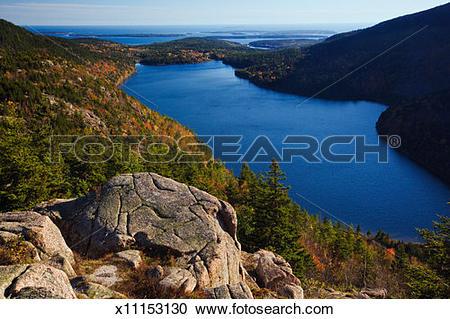 Stock Photography of USA, Maine, Acadia National Park, Jordan Pond.