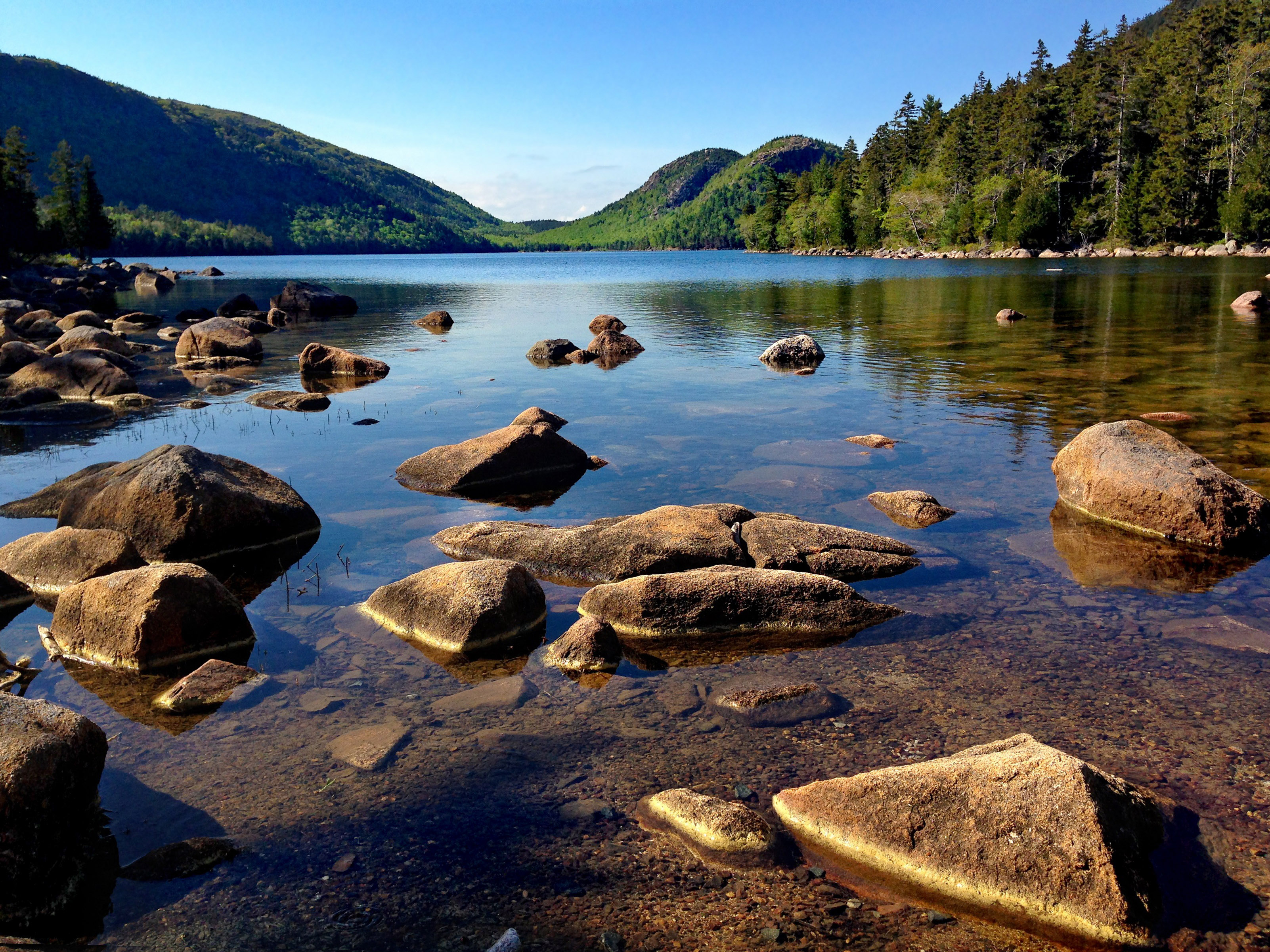 Landscape and scenic of mountains and lake at Acadia National Park.