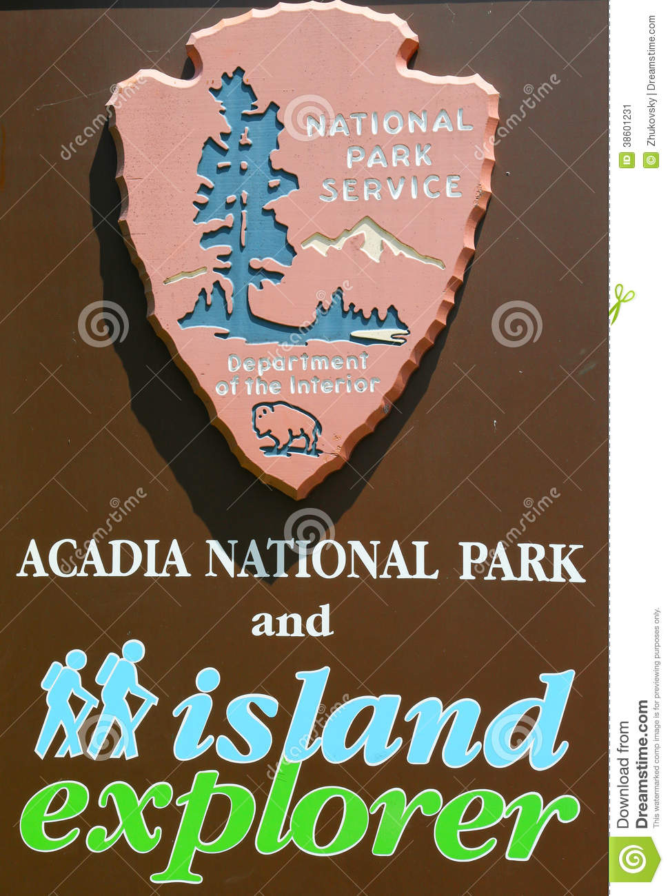 Acadia National Park Sign In Maine Editorial Photo.