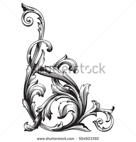 Vintage Baroque Frame Scroll Ornament Engraving Stock Vector.
