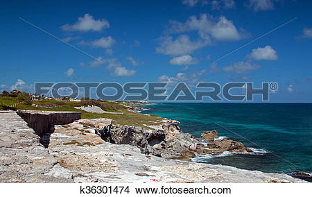 Stock Photo of Isla Mujeres Acantilado Amanecer Punta Sur across.
