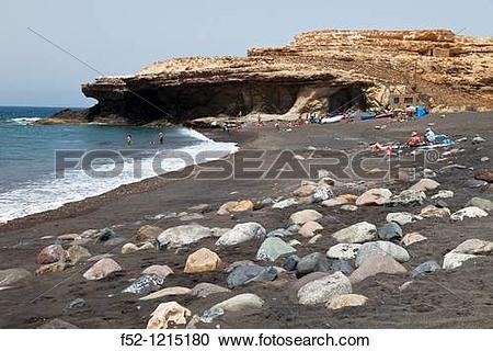 Stock Photography of Playa y acantilados Pueblo de Ajuy Parque.