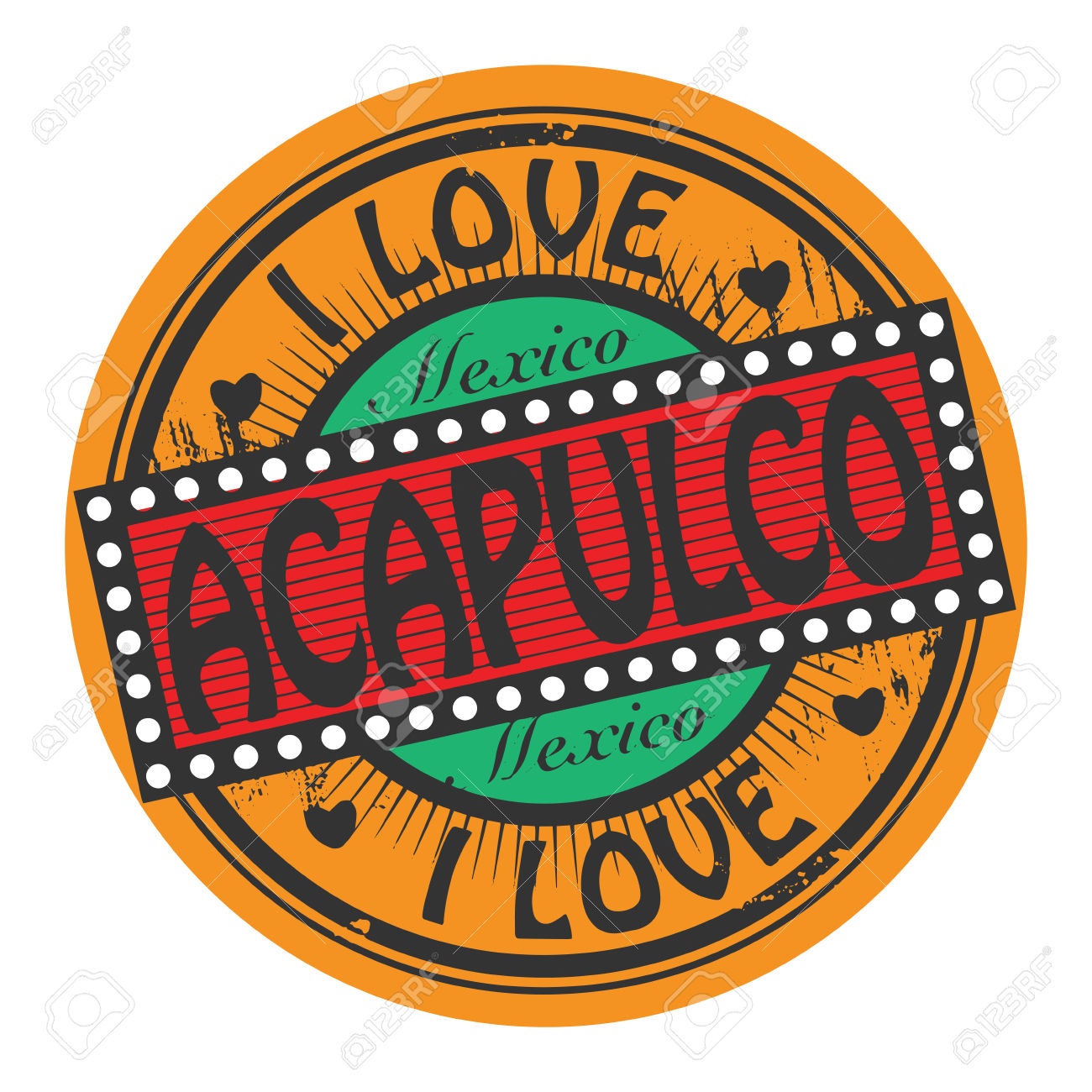 Grunge Color Stamp With Text I Love Acapulco Inside Royalty Free.