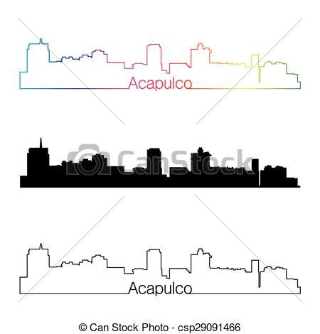Clip Art Vector of Acapulco skyline linear style with rainbow.eps.