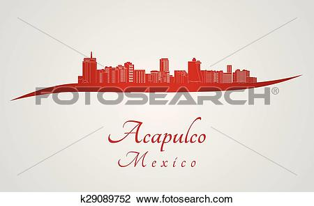 Clipart of Acapulco skyline in red k29089752.