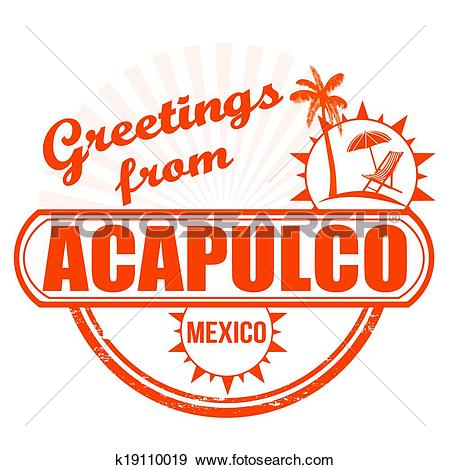 Clip Art of Greetings from Acapulco stamp k19110019.