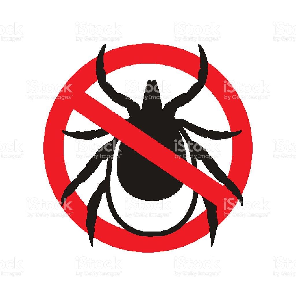 Ticks Stop Sign Mite Warning Sign Encephalitis Parasite Icon stock.