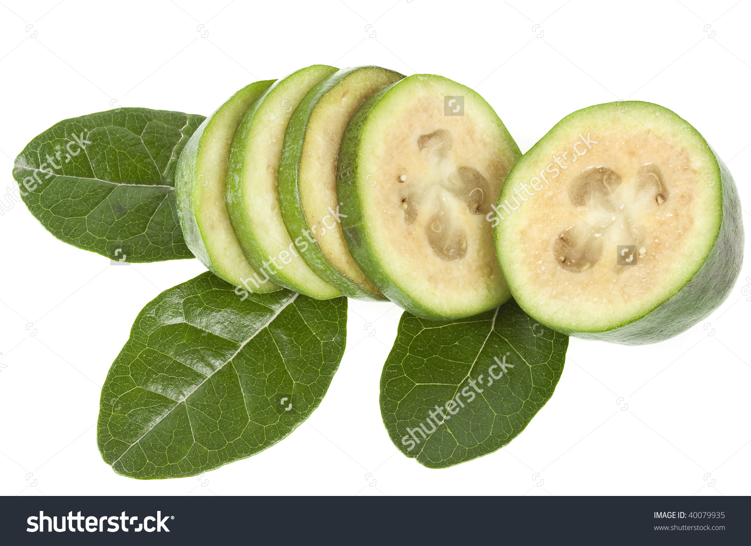 Feijoa Fruit Acca Sellowiana Cutted With Leaves Close Up Isolated.