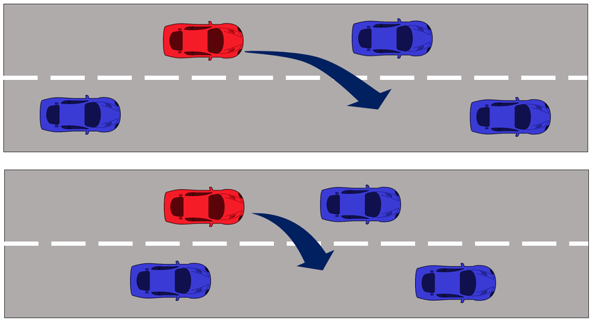 Examples of (a) normal and (b) dangerous lane change.