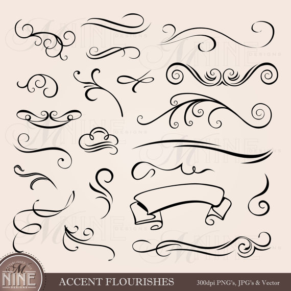 Accent FLOURISHES Clip Art: Design Elements, INSTANT.
