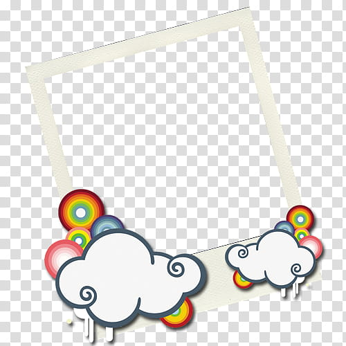 Rectangular white and blue cloud accent frame transparent.